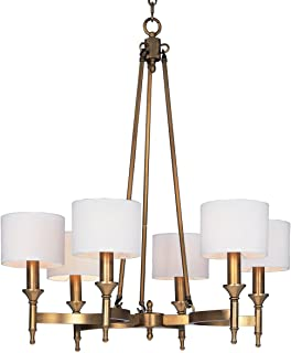 Chandeliers 6 Light Bulb Fixture with Natural Aged Brass Finish Metal Material Candelabra Bulbs 30 inch 240 Watts
