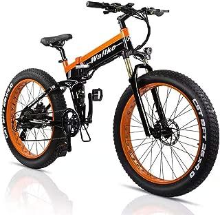 wallke Aluminum Alloy Folding Electric Bicycle 48V 14ah Detachable Battery 26 inch Fat Tire Snow Mountain ebike 750W Beach Cruiser Adult Auxiliary E-Bike Double Disc Brake Hydraulic Brake