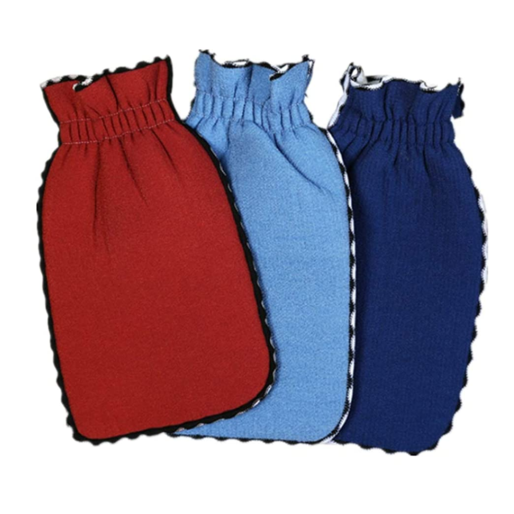 補正即席戦う入浴用手袋 ボディフェイス3のバスミットセット、女性と男性の肌をやさしく角質除去する天然コットン繊維 シャワー手袋 (色 : 3 pack random color)