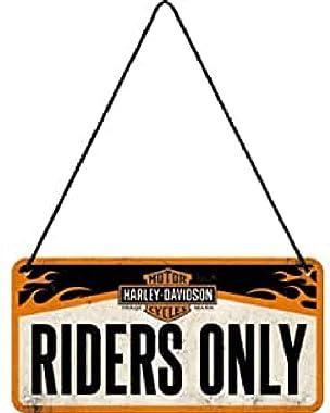 Nostalgic-Art 28003 Plaque à Suspendre Harley-Davidson – Riders Only – Idée de Cadeau pour Les Fans de Moto, en métal, Déco D