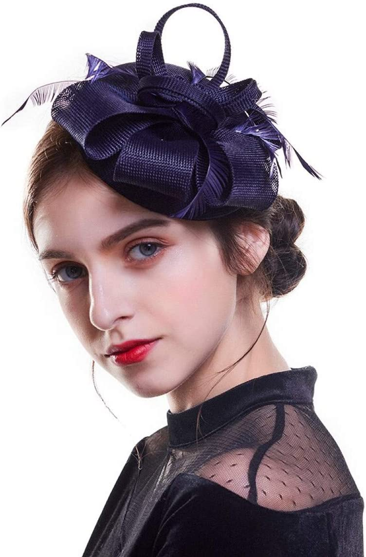 MELLOW SHOP Hat for Women Fascinator Hats Feather and Ribbon Flower Fedoras Hat Wedding Cocktail