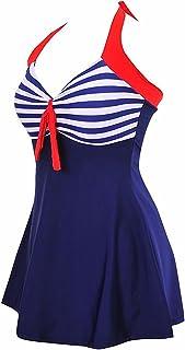 TieNew Women's Retro Sailor Swimming Costume Dress Plus Size One Piece with Boyshort Bottom, Women's Polka Dot One Piece V...