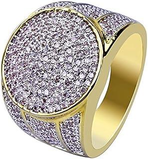 Moca Gioielli Iced out Personalizzato Fashion Ring 18K Oro Placcato Bling C' Simulato Diamond Hip Hop Anello per Le Donne...