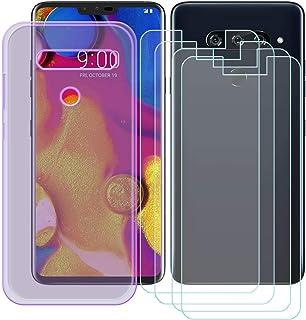 YZKJ Fodral för LG V40 ThinQ Cover lila silikon skyddande hölje TPU skal skal skal skal 4 stycken pansarglas skärmskydd fö...