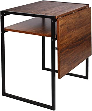 Folding Dining Table, Compact Drop Leaf Table for Small Spaces, Multifunction Expandable Table, Corner Laptop Desk Workstatio