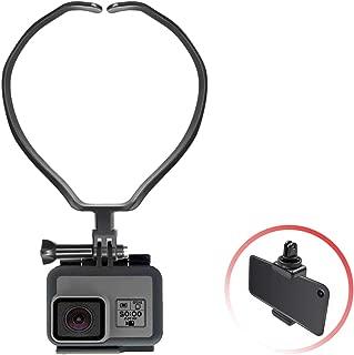 【2019令和最新改善】GoPro アクセサリー ネックハウジングマウント ネックマウント スマホマウント ネックマン 撮影・生放送・自撮り・記録 HERO7/6/5/4/3/3+ Osmo ゴープロ fusion APEMAN SJCAM Gopro session アクションカメラ対応 スマホ対応 ウェアラブルカメラ用 (Black)