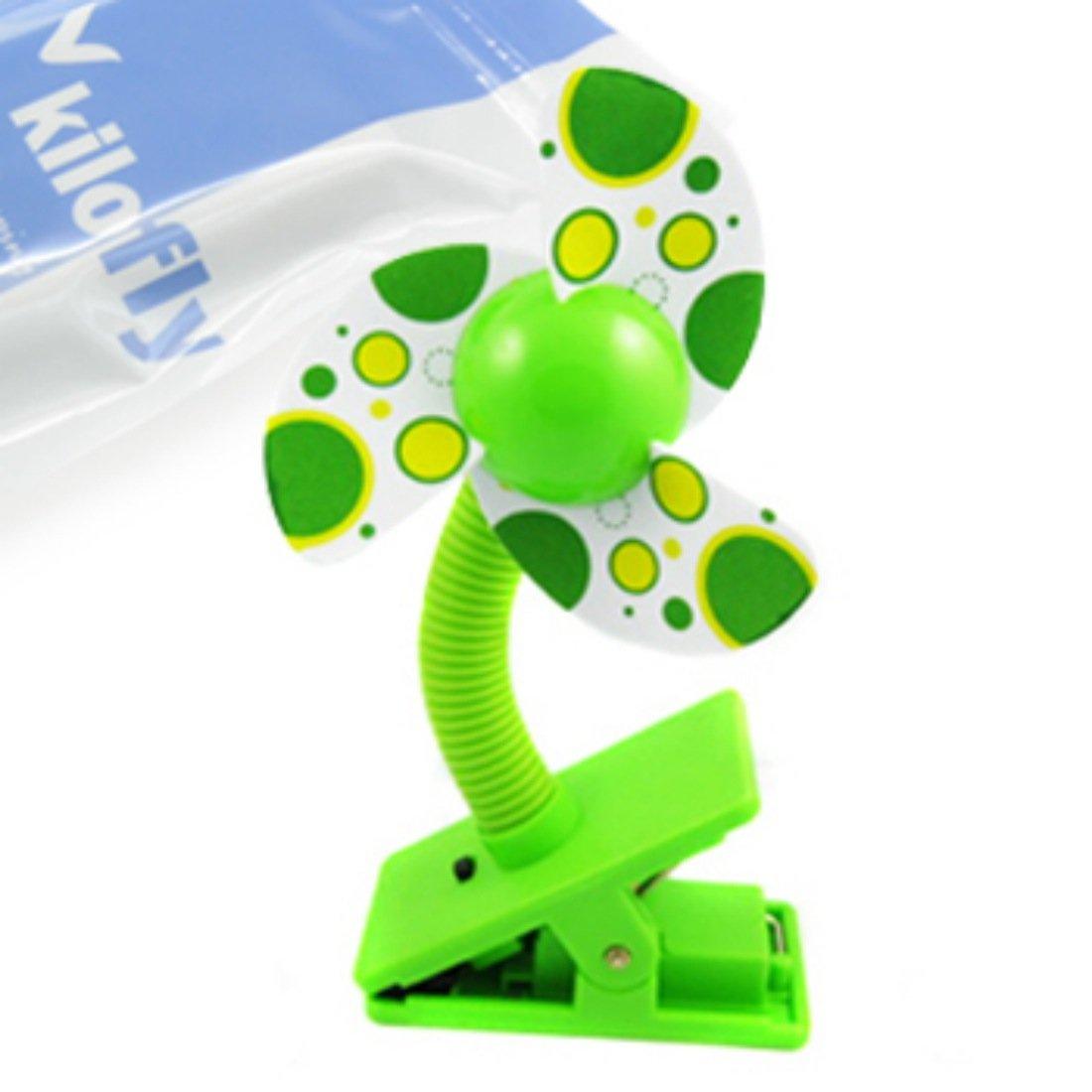 kilofly Clip-On Mini Stroller Fan, Green