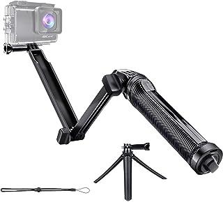 自撮り棒 三脚 GoPro 3Way hero5/hero6/hero7/各種アクションカメラに対応 折り畳み式 防水 軽量 滑り止めグリップ アングル調整可能 ブラック