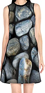 Women's Sleeveless Dress Smooth Pebble Stone Fashion Casual Party Slim A-Line Dress Midi Tank Dresses