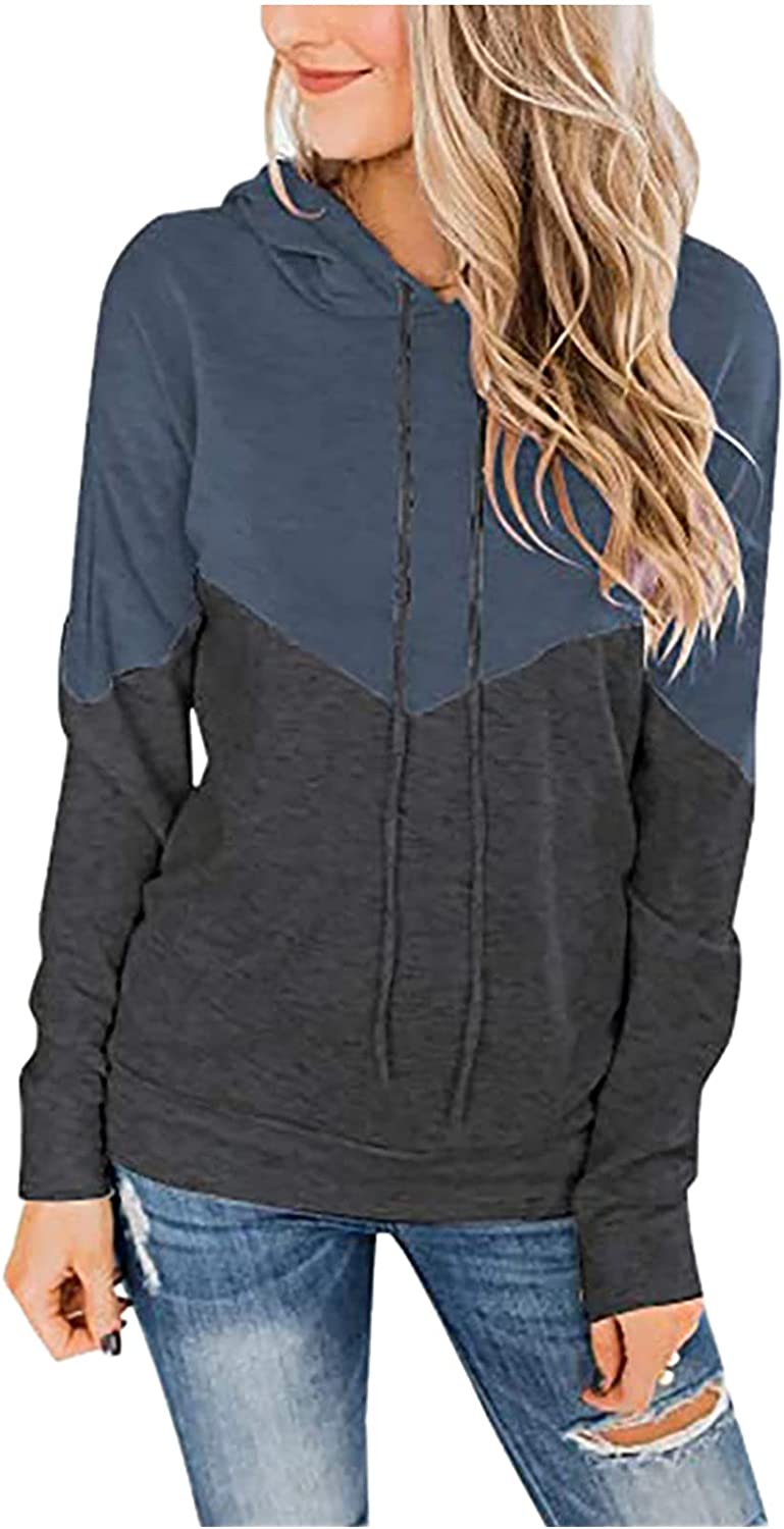 Women's Color Block Hoodies Sales Drawstring Fitted Hooded Sweats Clearance SALE Limited time Slim