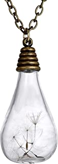 COSYOO Dandelion Seed Necklace Bulb Shape Vintage Drop Pendant Necklace Dandelion Pendant Necklace Dandelion Necklaces for...