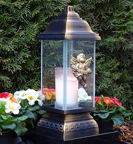 ♥ LED Grablampe Grablaterne Engel Ornament Bronze 34,0cm incl. LED Grablicht Grabkerze Grabschmuck Grableuchte Laterne Kerze Lampe Schutzengel