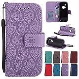 Laybomo Handyhülle für Nokia 3310 (2017) hülle Tasche Leder Beutel Weich Silikon TPU Flip Cover [Bilderrahmen] Stehen Magnetisch Schutzhülle Hülle Schale Tasche für Nokia 3310, Reben Streifen (Lila)