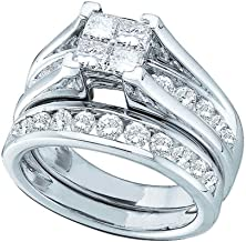 Mia Diamonds 14kt White Gold Womens Princess Diamond Bridal Wedding Engagement Ring Band Set (2.00cttw) (I1-I2)- Available Sizes From - 5 to 11
