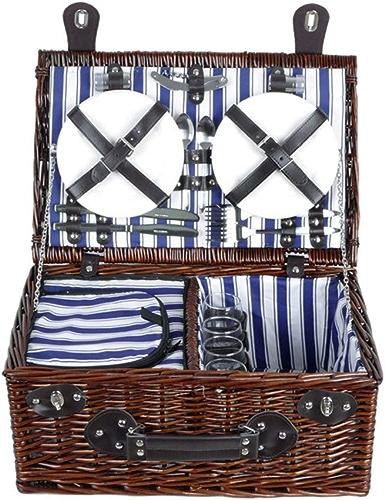 Paniers de pique-nique Jardin et extérieur Paniers de pique-nique en osier traditionnels de luxe pour 4 personnes avec compartiment de réfrigération et sacs de refroidisseur de bouteille Paniers de ra