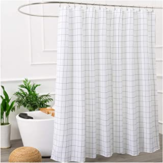 Aimjerry Black and White Fabric Shower Curtain for Bathroom,Washable STALL Size 72 X 72 Inch