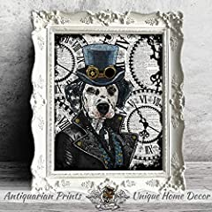 Steampunk Dalmatian art print, Dog Home Decor on antique dictionary book page #1
