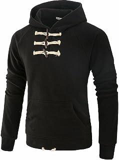 iYBUIA Personality Men Solid Coat Jacket Outwear Sweater Winter Slim Hoodie Long Sleeve