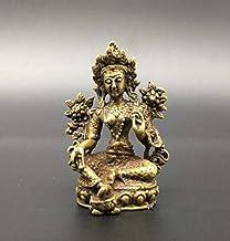 Copper Statue Chinese Pure Brass Green Tara Buddha Small Statue