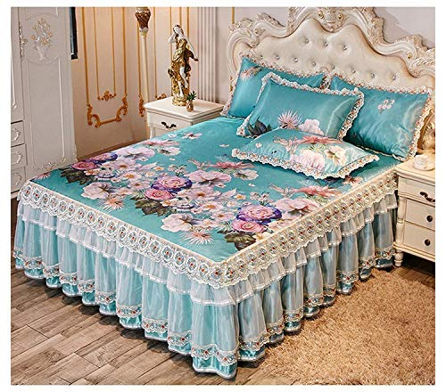 YYCHJU Lujosas Faldas de Cama de Verano, Colcha fría como el Hielo, colchón de Encaje de Capa Doble/Individual, Funda de colchón Lavable a máquina.(Color: C, tamaño: 200 * 220 CM)