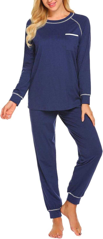 Ekouaer Pajamas Set Women's Long Sleeve Sleepwear Soft Cotton PJs Classic Lounge Sets S-XXL