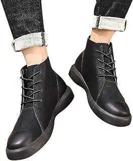 24928b8769f Mymyguoe Botines de tacón Alto con Cordones y Botines de Estilo Vintage  Zapatos para Hombre Zapatillas