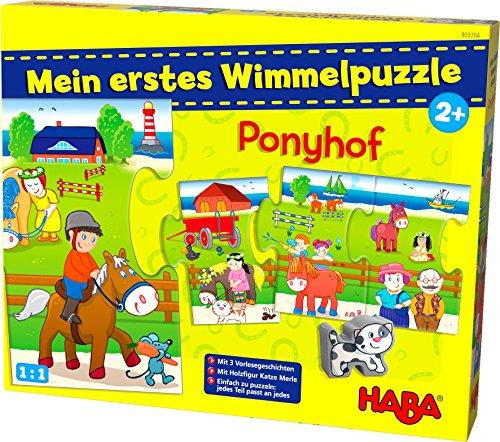 Haba 303704 - Mijn eerste wimmelpuzzel - ponyhof | kinderpuzzel vanaf 2 jaar | met houten figuur kat merle en 3 voorles-verhalen
