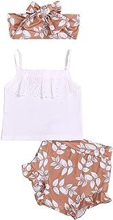 Jugendhj Babysuit 🇨🇦🇨🇦Infant Baby Girls Strap Lace Tops Floral PP Shorts Hair Band Outfits Sets Summer