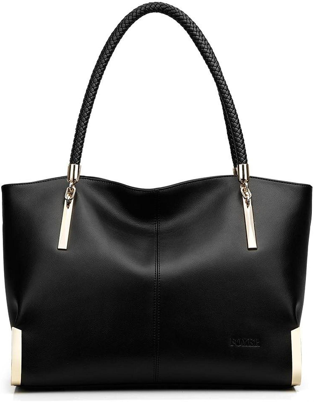 BABUBALA Economic Women's Cow Leather Handbags F Shoulder bag designer Female Tote Large Capacity Zipper bags for Women