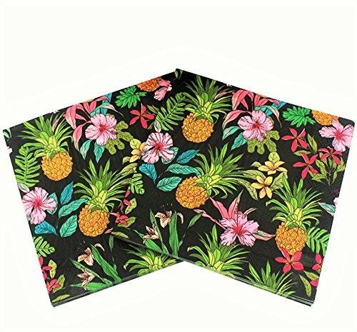 WallyE Luau Party Supplies 20 Pack Pineapple Hawaiian Napkins, Black