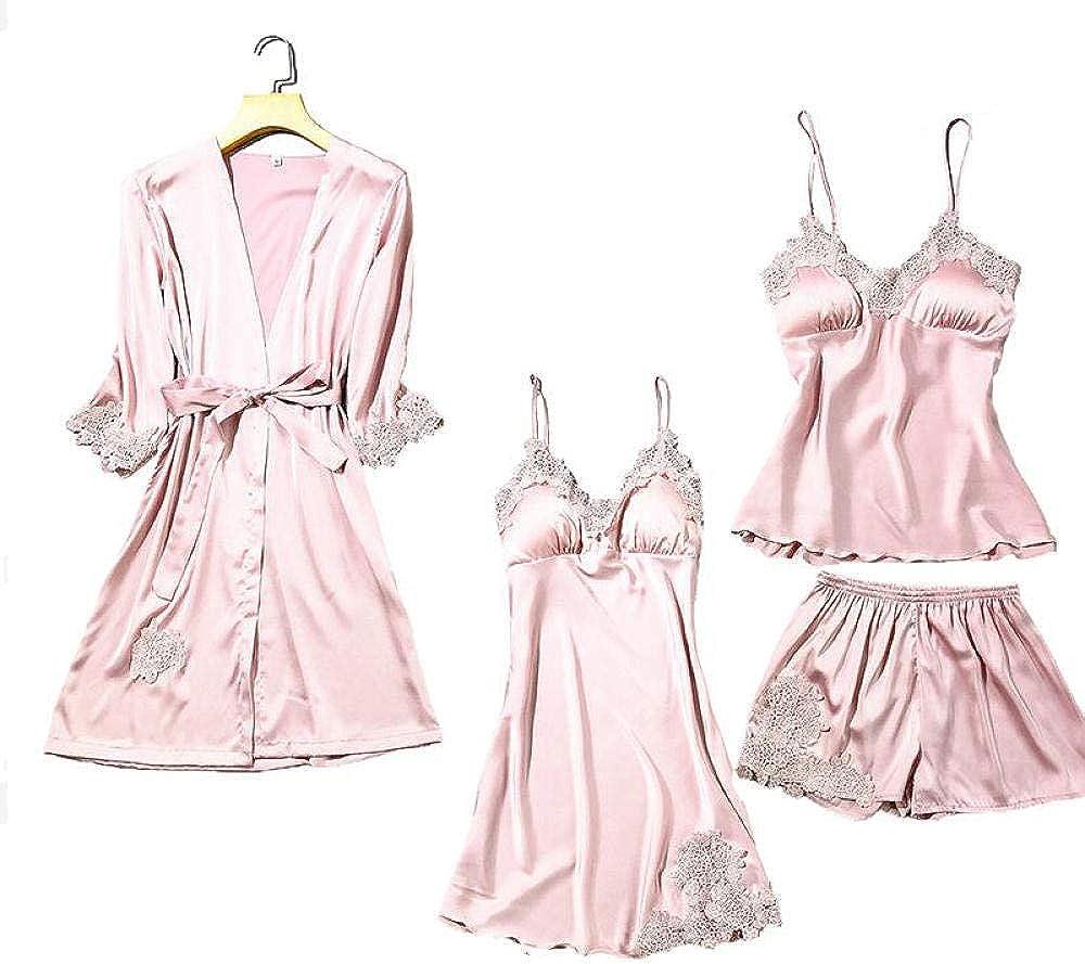 Satin Outstanding Lace Pajamas Set Women 5PC Top Strap Pants Sleep OFFicial site Sleepwear