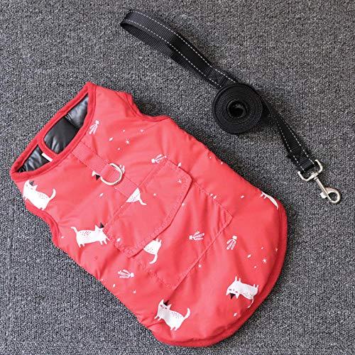 QKEMM Abrigo Perro Chaqueta Perro Invierno Ropa Anillo D Impermeable con Velcro Reversible para Perro Pequeño y Mediano Rojo+200cm Cuerda Plana 3XL
