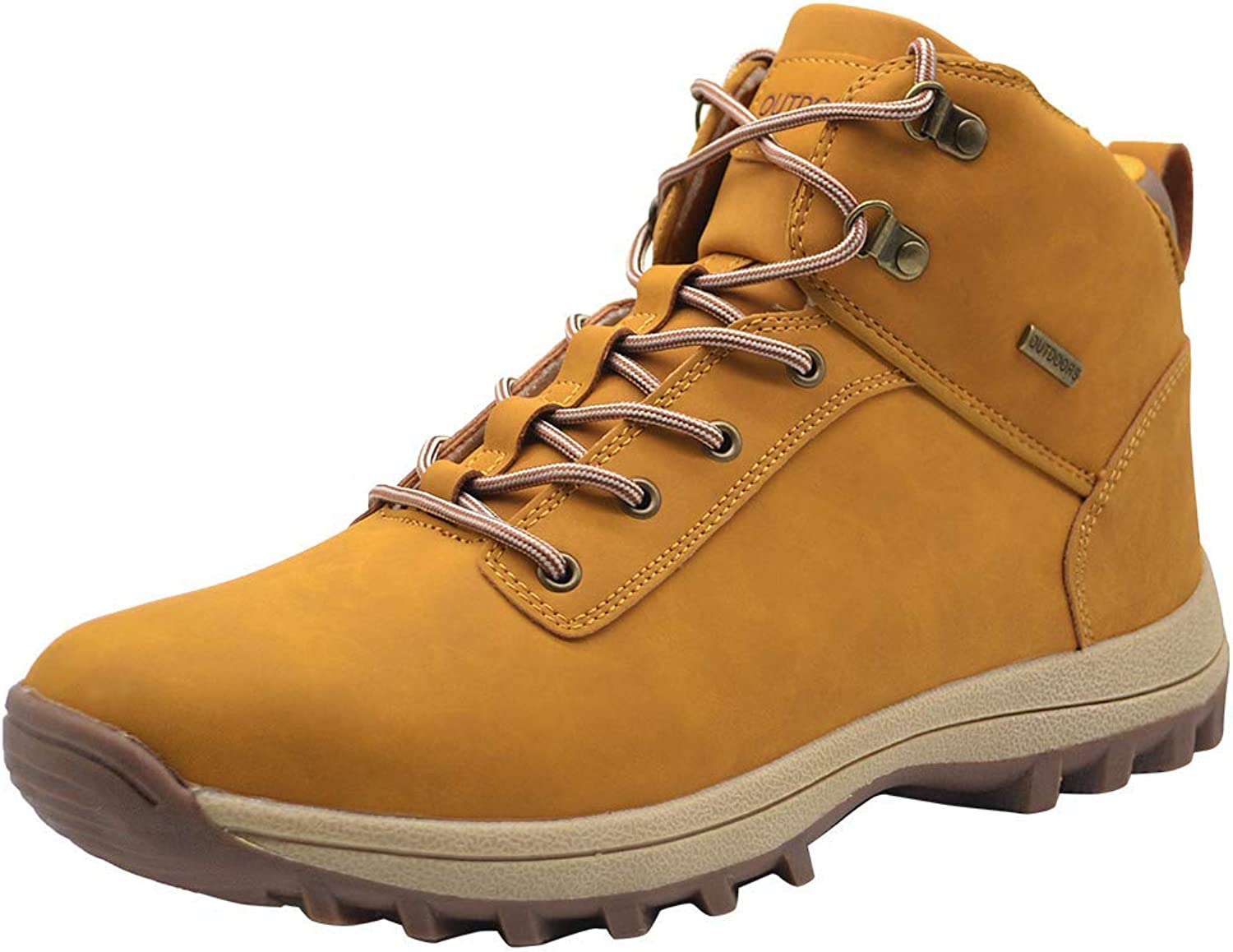 TSIODFO Mens Winter Boots Waterproof Outdoor Ankle Mens Boots PU Leather Lace up Fashion Comforable Trekking Hiking shoes Waterproof Light Brown Size 8 (572-1lightbrown42)
