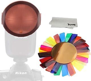 TUYUNG Farbkorrektur Gel Lichtfilter – Transparente Farb Beleuchtung, Gel Filter, Kunststoffblätter, kompatibel mit GODOX V1 Serie und H200R, Profoto A1X und anderen runden Blitzlampen, 20 Stück