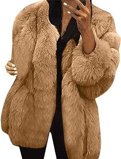 LEXUPA Women Plus Size Short Faux Coat Warm Furry Long Sleeve Outerwear Windbreaker Jacket Pea Coat Trench