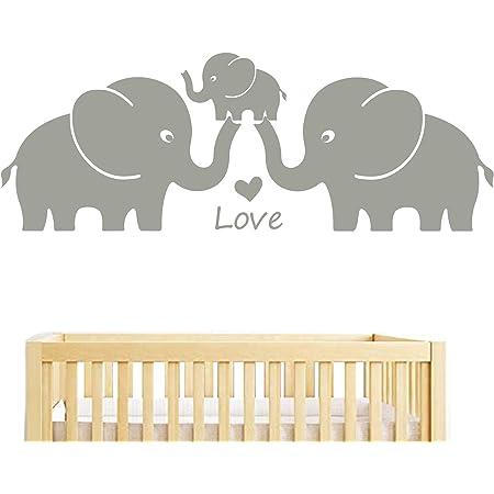BDECOLL famille éléphant stickers muraux, éléphant decoration chambre bebe, famille stickers chambre enfant (Gris)