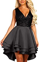 PJTOP Women's Sexy V-Neck Sequin Multi Layer Skater Dress Party Evening Wedding Dresses