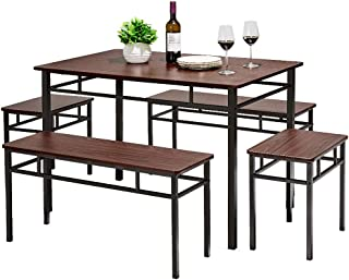 AMERLIFE 5 Piece Dining Table Set Retro Chairs Table Set...