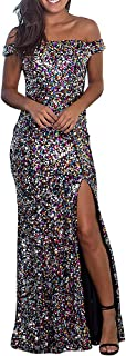 BOMBAX Women Sparkly Cocktail Bridesmaid Dress High Split Long Wedding Party Prom Gown