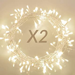 koopower 2 Pack 36ft 100 LED Outdoor Battery Operated String Lights Christmas Lights with Timer for Christmas Tree Wreath ...