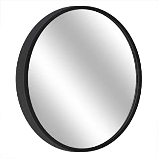 "MORIGEM Round Mirror, 19.7"" Wall Mirror, Wall-Mounted Mirror for Bedroom, Bathroom, Living Room & Entryway, 1.4"" Metal Frame Vanity Mirror, Black"