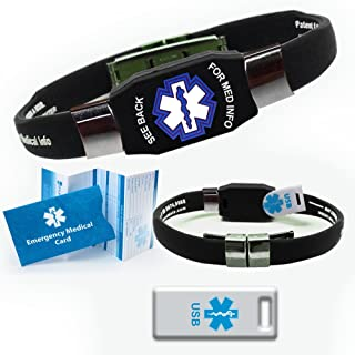 Waterproof ELITE USB silicone medical ID bracelet with 2 GB USB. Choose Your Color! (Black)
