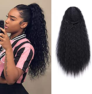 AISI BEAUTY Long Curly Drawstring Ponytail for Women 22 inch Clip in Wavy Natural Ponytail Extension for Womens(1B)