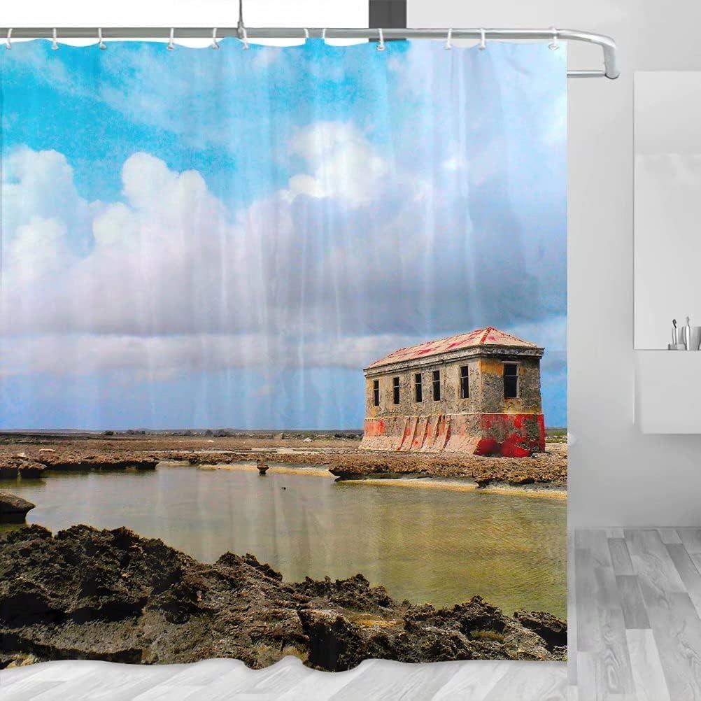Bonaire YL-00728 - Cortina de ducha de viaje con ganchos de poliéster (72 x 72 pulgadas)