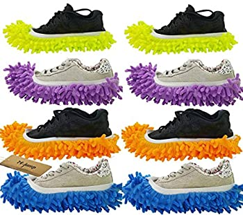 M-jump 8 PCS 4 Pairs Duster Mop Slippers Shoes Cover Multi Function Chenille Fibre Washable Dust Mop Slippers Floor Cleaning Shoes for Bathroom Office Kitchen House Polishing Cleaning