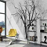 Lwcx 3D Wallpaper modernen schwarzen und weißen Stil Elk und Baum für den Hintergrund 300 X 210 CM