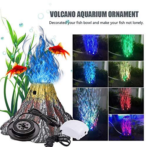 Kitabetty Aquarium-Verzierung Lampe, Vulkan geformte Harz-Fisch-Behälter-Dekoration-Licht mit Luftpumpe, IP68 wasserdichter Unterwasser-LED-Scheinwerfer, 4 x 2,8 Zoll