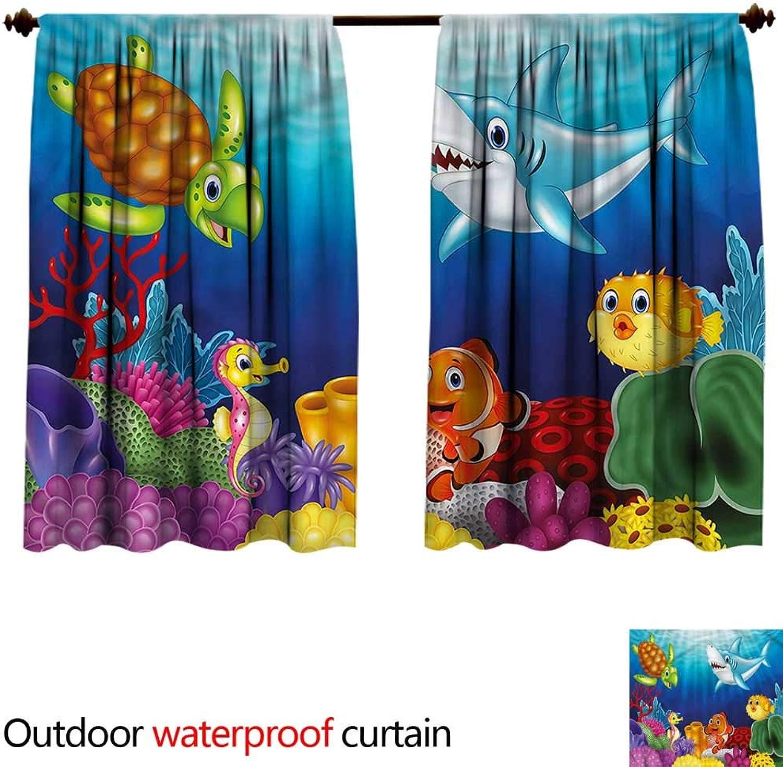 BlountDecor UPF Outdoor curtainAntiWater W72 x L63(183cm x 173cm) Aquarium,Exotic Happy Ocean World
