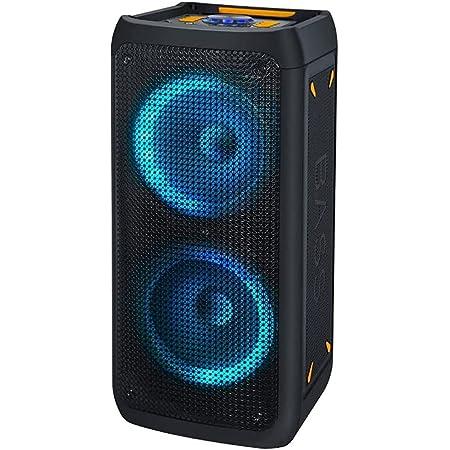 NK Bass Speaker - Altavoz Portátil Bluetooth   Potencia 46W   Batería Incorporada 4.400 mAh  USB   Karaoke   Luces Led Multicolor   Radio FM   Micrófono   Mando a Distancia   Color Negro