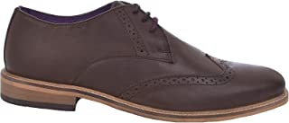 Mens Franky Waxy Leather Brogues - Brown